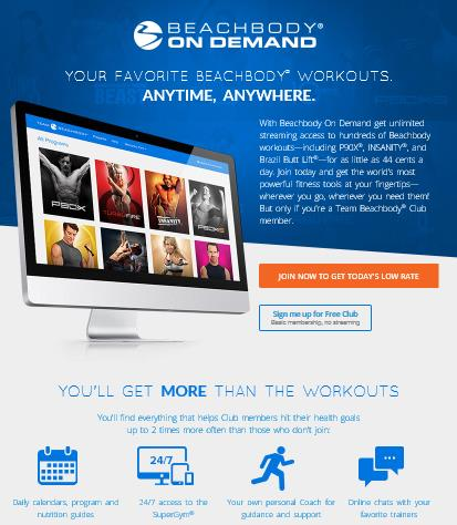 Beachbody On Demand Digital Streaming Media.